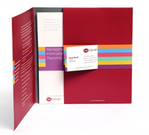 Company folder, sales leaflets and business card
