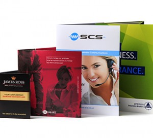brochures and leaflets in a range of size